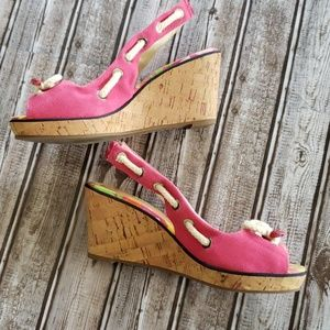 Sperry Pink Wedges Size 8